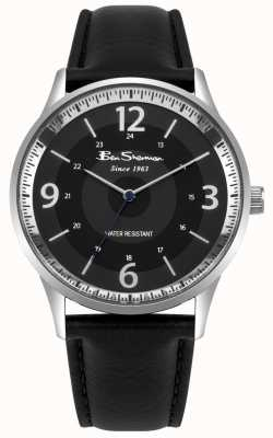 Ben Sherman Zwart lederen zwarte lederen band script horloge BS001BB