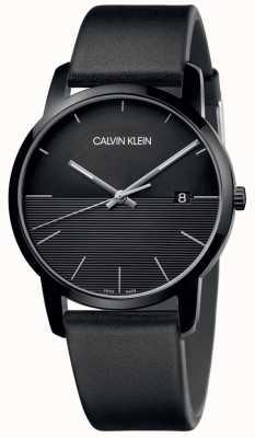 Calvin Klein Zwart lederen wijzerplaathorloge heren K2G2G4C1