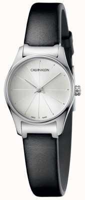 Calvin Klein Dames zwart lederen horloge zilveren wijzerplaat K4D231C6