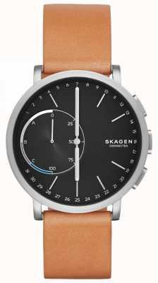 Skagen Hagen verbonden smart watch bruin lederen band zwarte wijzerplaat SKT1104