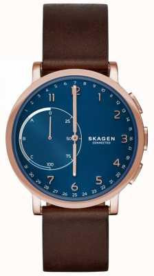 Skagen Hagen verbonden smart watch bruine lederen band blauwe wijzerplaat SKT1103
