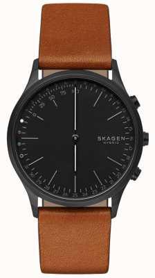 Skagen Jorn connected smart watch bruine lederen band zwarte wijzerplaat SKT1202