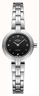 Rotary Diamanten damesring in roestvrij staal zwart LB00410/15
