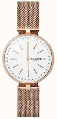 Skagen Signatur connected smart watch roségouden mesh witte wijzerplaat SKT1404
