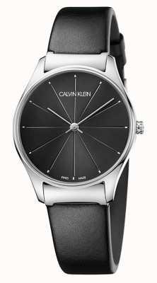 Calvin Klein Dames klassieke zwarte leren riem K4D221CY