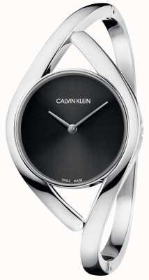 Calvin Klein Partij zilveren roestvrij stalen armband zwarte wijzerplaat K8U2S111