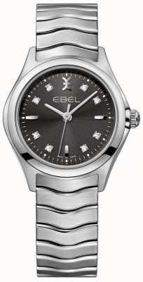EBEL Dames diamant antraciet wijzerplaat roestvrij stalen armband 1216316