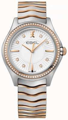 EBEL Damesset in diamant met witte wijzerplaat en tweekleurige armband 1216319