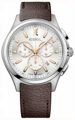 EBEL Mannen chronograaf datum display bruine lederen band 1216341