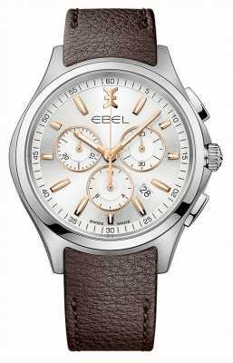 EBEL Mannen chronograaf datum display bruine lederen band 1216341