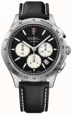 EBEL Automatische golf chronograaf heren zwart wijzerplaat zwart leer 1216404