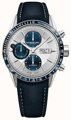 Raymond Weil Mens freelancer automatische chronograaf blauwe lederen band 7731-SC3-65521
