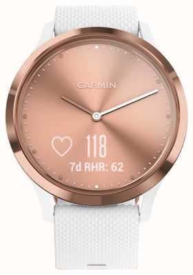 Garmin Vivomove hr activity tracker witte rubberen roségouden wijzerplaat 010-01850-02