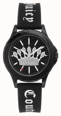 Juicy Couture Womens zwarte siliconen band horloge zwarte kroon wijzerplaat JC-1001BKBK