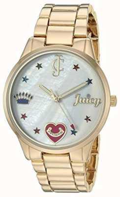 Juicy Couture Dameshorloge in goudkleurig stalen armband met gekleurde markers JC-1016MPGB