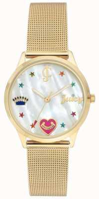Juicy Couture Dames gouden mesh armbandhorloge met gekleurde markers JC-102WTGB