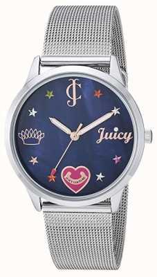 Juicy Couture Dames zilveren armband met mesh gekleurde markeringen | blauwe wijzerplaat JC-1025BMSV