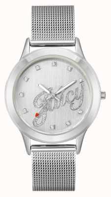 Juicy Couture Womens zilverkleurige mesh armband, sappig script horloge JC-1033SVSV