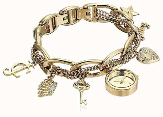 Juicy Couture Dames goudkleurige roestvrij stalen bedel armband horloge JC-1040GPCH