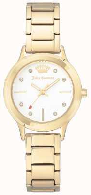 Juicy Couture Dames gouden wijzerplaat roestvrij stalen armband witte wijzerplaat JC-1050WTGB