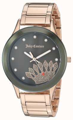 Juicy Couture Dames rose goud roestvrij staal | zwarte kroon wijzerplaat JC-1052OLRG