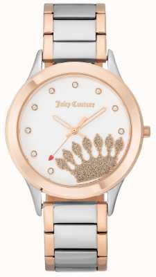 Juicy Couture Dames rose gouden toon crown dial en two tone bracelet JC-1053WTRT