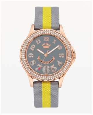 Juicy Couture Grote wijzerplaat grijs en geel nylon band voor dames JC-1056RGGY