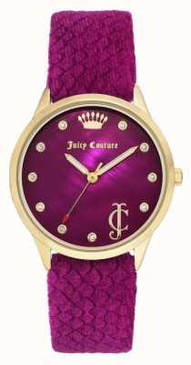 Juicy Couture Dames bordeauxrood | bordeaux fluwelen riem | gouden toon geval JC-1060HPHP