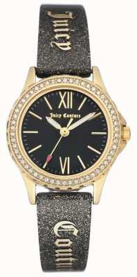 Juicy Couture Womens goudkleurige behuizing zwarte, sappige riem JC-1068BKBK