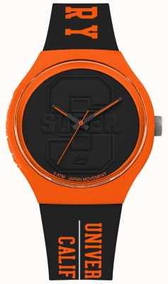 Superdry Urban xl varsity mat zwart zwarte wijzerplaat oranje SYG240BO