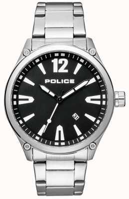 Police Heren slimme stijl roestvrij stalen armband zwarte wijzerplaat 15244JBS/02M