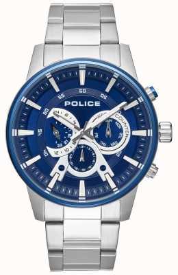Police Heren slimme stijl roestvrij stalen armband blauwe wijzerplaat PL.15523JSTBL/03M