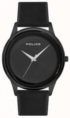 Police Zwarte leren wijzerplaat in zwarte stijl, zwart leer heren PL.15524JSB/02