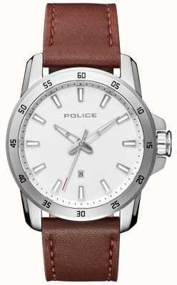Police Slim lederen stijl heren lederen band zilveren wijzerplaat PL.15526JS/04
