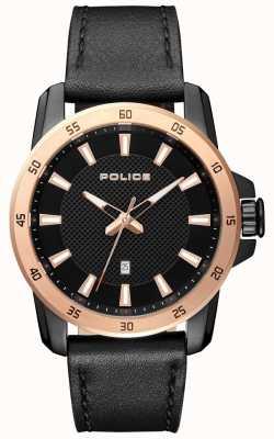 Police Zwarte leren wijzerplaat in zwarte stijl, zwart leer heren PL.15526JSBR/02