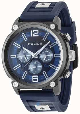 Police Heren rebelse stijl 2 tone siliconen band blauwe wijzerplaat PL.15049JSU/03P