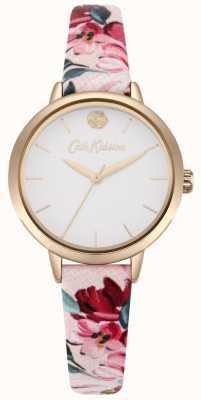 Cath Kidston Witte wijzerplaat met roze bloemenprint voor dames CKL064PRG