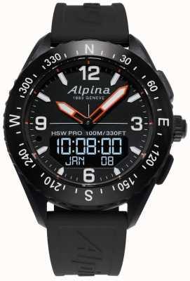 Alpina Alpinerx smartwatch zwarte rubberen band AL-283LBB5AQ6