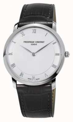 Frederique Constant Slank, zwarte lederen band heren quartz FC-200RS5S36