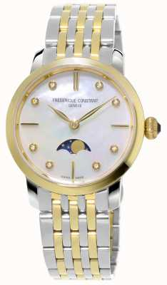 Frederique Constant Slimline maanfase kwarts two tone armband voor dames FC-206MPWD1S3B