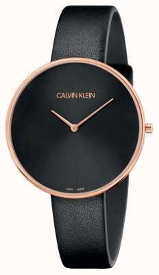 Calvin Klein Zwarte maanlederen horlogeband voor dames in volle maan K8Y236C1