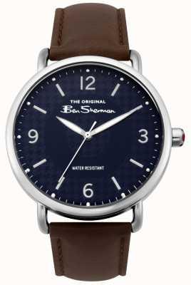 Ben Sherman Matt horloge | marine wijzerplaat | donkerbruine band | zilveren kast | BS015BR