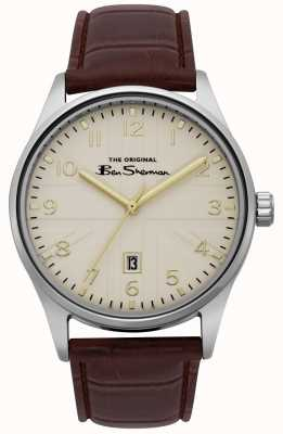 Ben Sherman Heren mat off white wijzerplaat zilvergouden two tone armband BS017BR