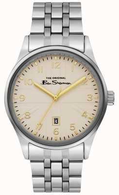 Ben Sherman Heren off white wijzerplaat zilveren kast roestvrij stalen armband BS017GSM