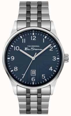 Ben Sherman Heren mat witte wijzerplaat roestvrij stalen armband BS017USM
