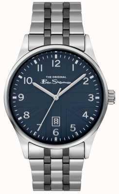 Ben Sherman Mat herenhorloge | blauwe wijzerplaat | roestvrij stalen armband | BS017USM