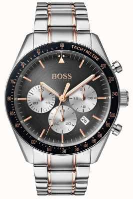 Hugo Boss Heren trofee horloge grijs chronograaf wijzerplaat roestvrij staal 1513634
