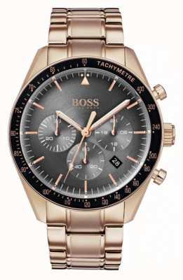 Hugo Boss Heren trofee horloge grijze chronograaf wijzerplaat rose goudkleur 1513632