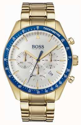Hugo Boss Heren trofee horloge witte chronograaf wijzerplaat goudkleur 1513631