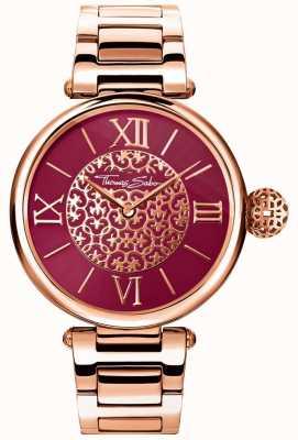 Thomas Sabo Dames karma rose gouden band armband rode zonnestraal wijzerplaat horloge WA0306-265-212